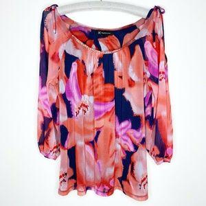 INC International Concepts Womens Blouse Floral XL